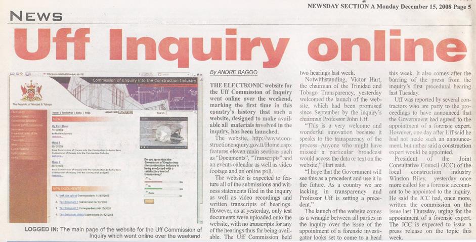 Uff Commission of Inquiry Website